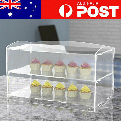 2 Layer Acrylic Bakery Pastry Display Case Cabinet Cakes Donuts Cupcakes Stand
