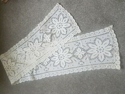 Vintage Lace Table Runner Ivory 136 X 22 Cms Floral Centre Design Pretty Border
