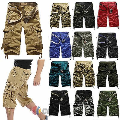 Mens Camo Combat Military Army Cargo Work Shorts Bottoms Pockets Pants Trousers