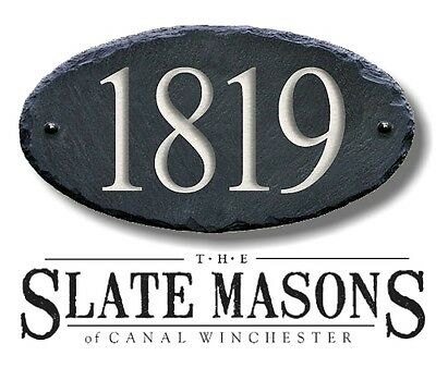CARVED SLATE HOUSE NUMBERS Sign Stone Plaque/CONDO CUSTOM Marker address #MA-1CB