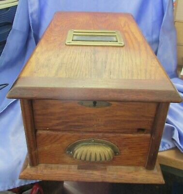 Old Wooden Antique Shop Till Vintage Cash Drawer Oak bell rings as you close