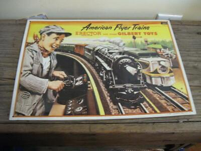 Rare American Flyer Trains Erector & Gilbert Toys Tin Sign ~ Wall Art ~ Lionel