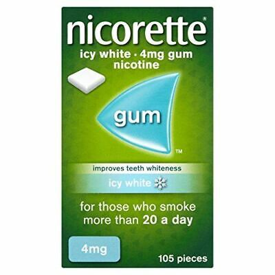 Nicorette Icy White Chewing Whitening Gum, 4 mg, 105 Pieces (Stop Smoking Aid)