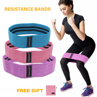 Resistance Booty Bands Set 3 Hip Circle Loop Bands Workout Exercise Guide & Bag