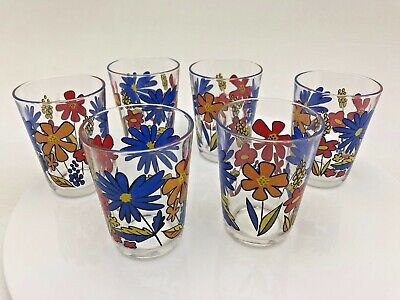Vintage Retro 6 x Glass Cups Flowers French France Tumblers Red Blue Orange