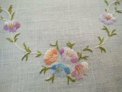 Sweet Pastel Flowers ~ Vintage Hand Embroidered Centrepiece