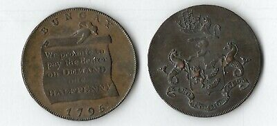 Coins - 1/2 Penny 1795 Trade Coin And Coat Of Arms Extremely Fine (Y4)