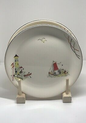 """TWO VINTAGE 50/60's ALFRED MEAKIN ENGLAND ST IVES PATTERN 9"""" BREAD/ CAKE PLATE"""