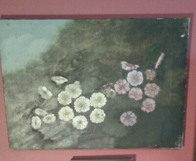 Fine Late 19th c, English Oil on Canvas. Hedgerow of Wild Pansies Study..