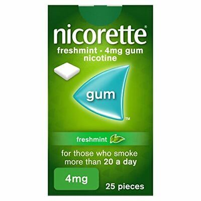 Nicorette Freshmint Chewing Gum, 4 mg, 25 Pieces (Stop Smoking Aid)