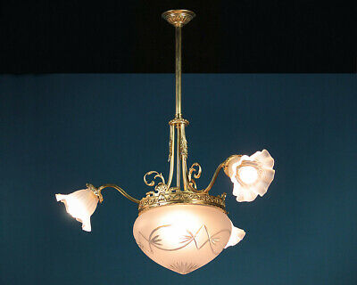 Antique Gilded Three Branch Hanging Light c.1910.