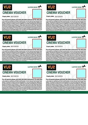 6 Vue Cinema Tickets - Expiry 03/12/2019 - Club Lloyds - emailed to you