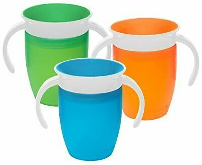 Munchkin Miracle 360 Degree 7 Ounce Spoutless Trainer Cup, 3 Pack, Green/Orang..