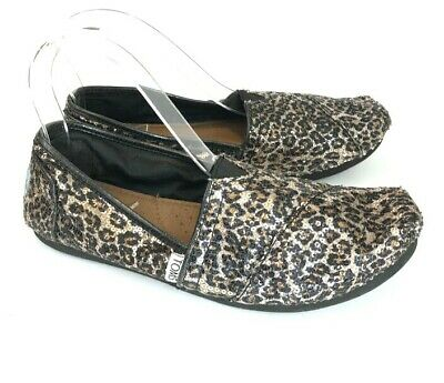 d78b3cc73a47 Toms Womens Classic Flats Leopard Sequin Black Gold Size 7.5 Animal Print  Loafer