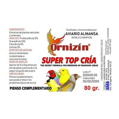 Super Top Cria Ornizin 65Gr Sustituto Antibiotico 100%Natural