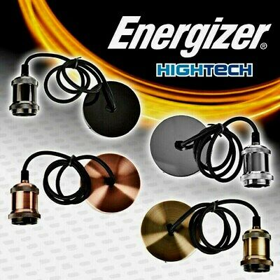 Energizer Ceiling Rose Pendant Cord Flex Hanging Lamp Antique Light Bulb Fitting