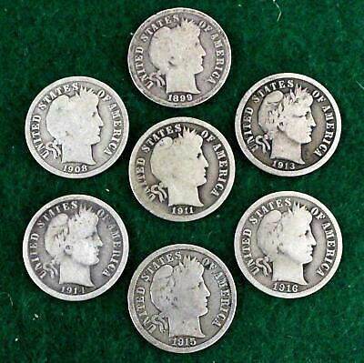 Barber Dimes ( Mixed Date Lot Of 7 Coins)