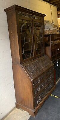 Late Victorian Carved Oak Large Bureau Bookcase