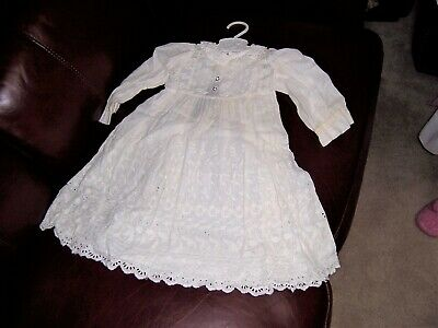Vintage Antique Child's Christening Gown Dress Sheer W/ Lace and Slip