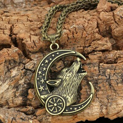 Viking Wolf Head Moon Howl Pendant Necklace Crescent Amulet Star Nordic Talisman