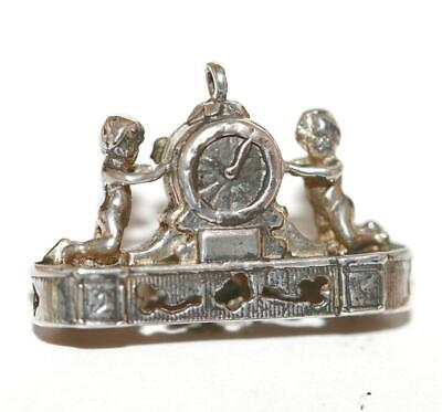 Vintage French Mantle Clock with Cherubs Sterling Silver Bracelet Charm c1960s