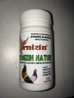 Vermizin Natur 100Capsulas Ornizin Antiparasitos Internos Palomas, Perdices, Etc
