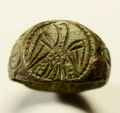 Ancient Roman Bronze Legionary Ring with Eagle On Bezel - circa 1st-3rd C AD