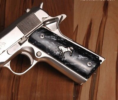 Altamont 1911 Grips Full-Size Classic Panel Smooth Black Pearl w/ Silver Colt