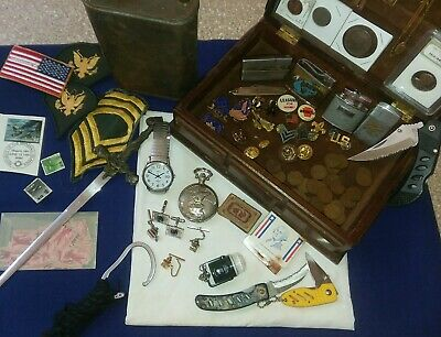 Mens Junk Drawer Lot With Military Aviation Memorabilia US Coins, Silver, knives