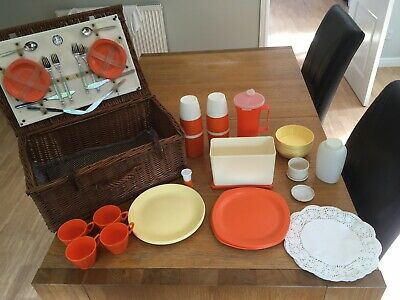 Vintage Wicker Picnic Basket/Hamper With Plates & Utensils