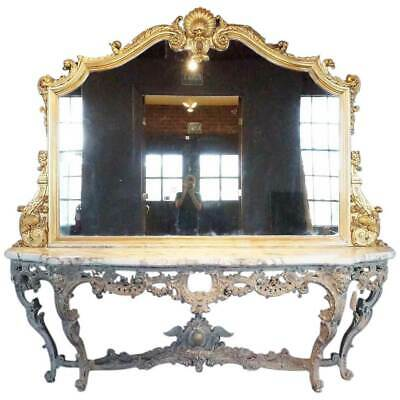 Very Large Antique Italian Rococo Style Gilt, Marble & Painted Console & Mirror
