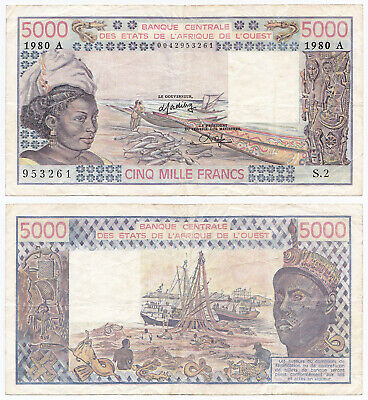 WEST AFRICAN STATES 5000 FRANCS BURKINA F-VF CONDITION 5RW 18ABRL