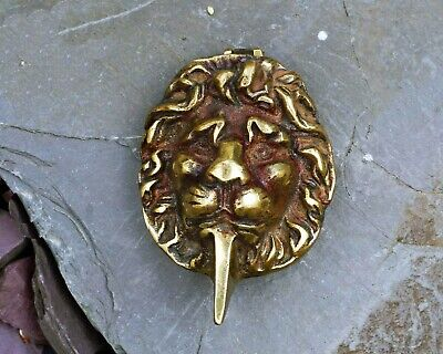 Vintage Brass Lion's Head Escutcheon, Yale Lock Cover, Door Hardware , Pair Of