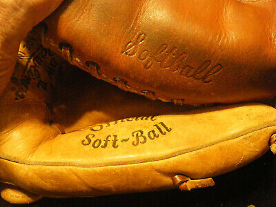 2 vintage used Rawlings and Wilson U.S.A catcher and fielder softball gloves