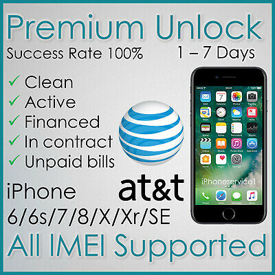 PREMIUM AT&T ATT FACTORY UNLOCK SERVICE FOR IPHONE Xs Xr X 8 7 6s 6 5s Active