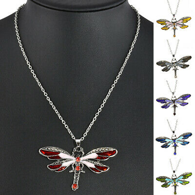 Fashion Jewelry Fashion Necklaces & Pendants Retro Silver Jewelry Necklace Pendant Dragonfly Crystal Sweater Chain Fashion