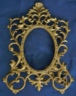 Antique Gold Gilt Cast Iron Rococo Oval Tabletop Easel Picture Frame #150