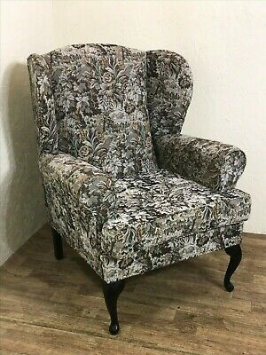 Fabulous vintage wing back armchair fireside chair with floral castle upholstery