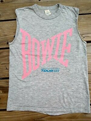 Vintage BOWIE 1983 Serious Moonlight UK Tour Tshirt/Vest Small David Bowie 80s