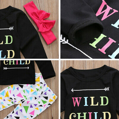 3Pcs Newborn Baby Girl Outfit Clothes Kid's Tops Leggings Pants Headband Set NEW