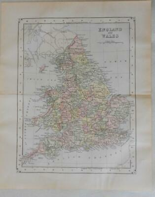 Antique Map of England & Whales Copper Plate Engraving Hand Colored 1895