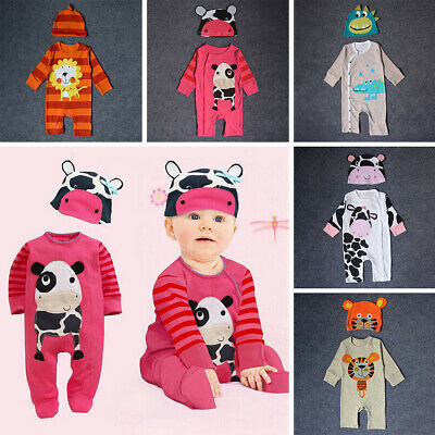 Cute Baby Newborn Boy Girl Cartoon Animals Pattern Romper + Hat 2pcs Outfits Set
