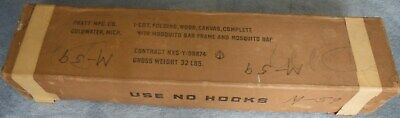 Scarce Vintage Army Cot With Mosquito Net In Original Box Unused