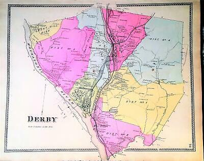 DERBY Connecticut Map Antique Original 1868 Hand Colored Map from Beers Atlas