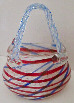 Vintage Murano Style Art Blown Glass Handbag Purse Red-White and  Blu Stripe 8x7
