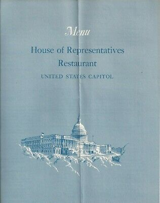 Vintage Menu House of Representatives Restaurant U.S. Capitol July 30, 1965