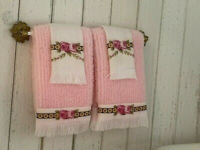 Lace and Silk Trim Miniature PINK Falcon Bath Towels DOLLHOUSE 1:12 Set of 2
