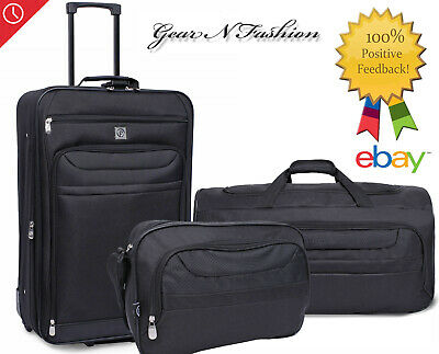 3 Piece Luggage Set - Black ABS Travel Set Bag Trolley Spinner Suitcase