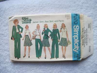 Simplicity 7070 Size 14 Bust 36 Misses' Jacket Pullover Shirt Bias Skirt Pants