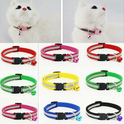 Pet Dog Cat Puppy Glossy Reflective Collar Safety Buckle Bell Strap Adjustable
